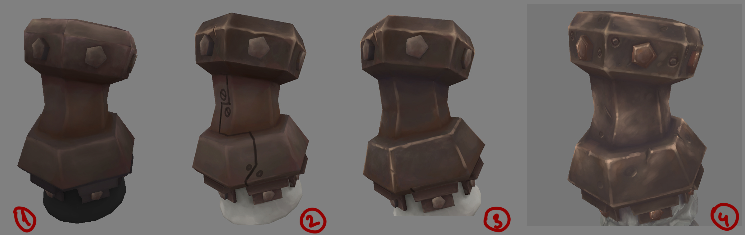 Hand painted texture progression