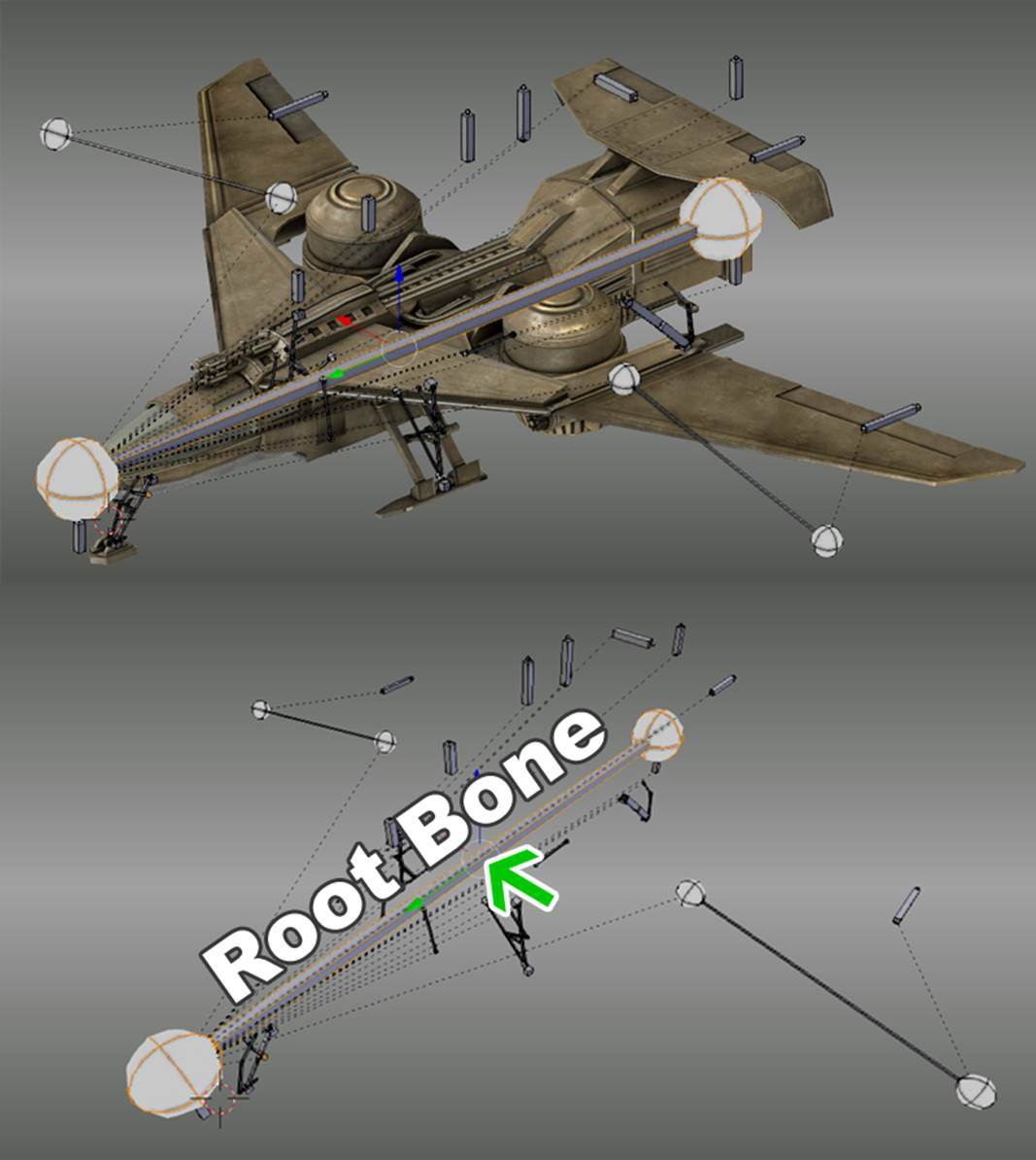I Use 49 Bones For This Plane, To Move The Plane I Had To Parent All Bone  To A Root Bone So First I Selected All The Bones Which Will Be The