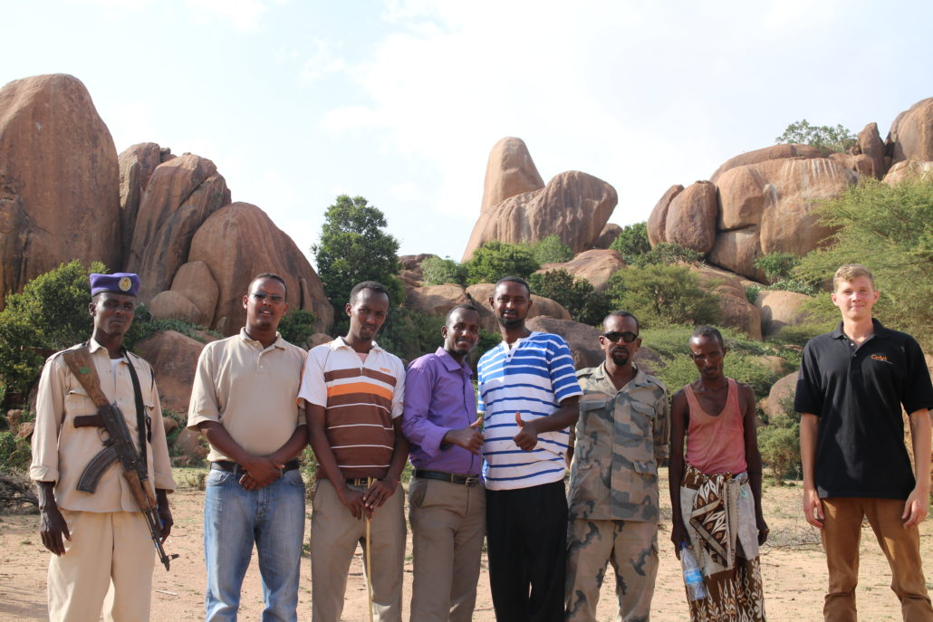 CyArk at the Horn Heritage Charity Team and guards give a thumbs up at the successful completion of field work