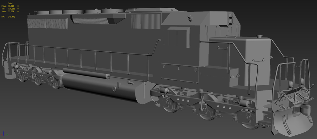A shaded screengrab of the finished model inside of the 3DS Max viewport.