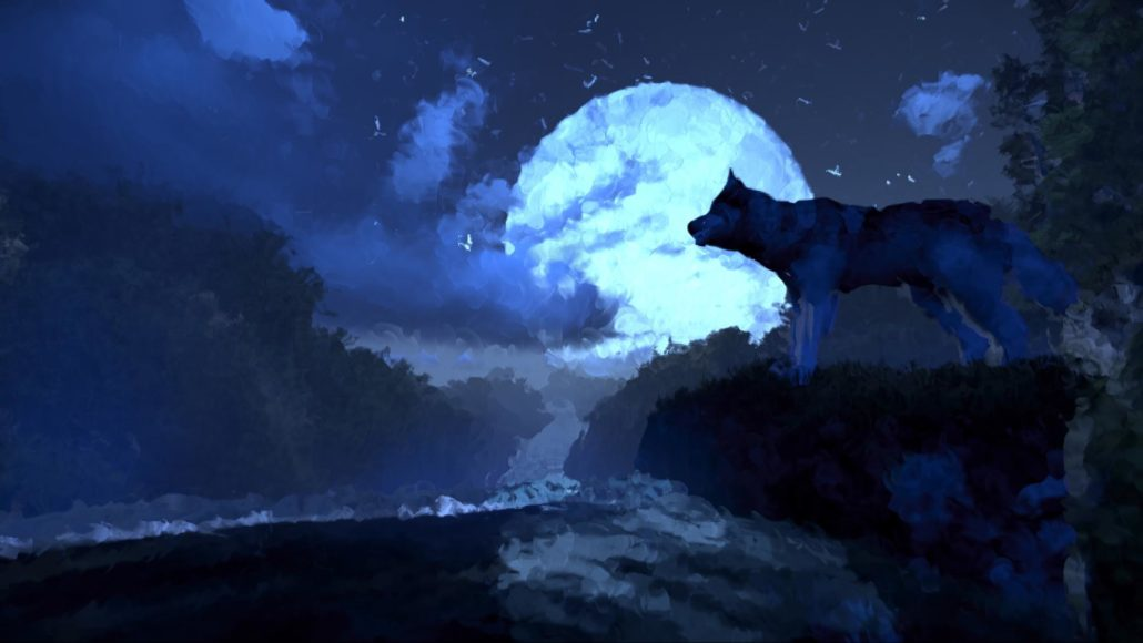 Artistic View - Wolf on Waterfall