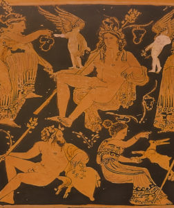 Detail of Dionysos in the center of the image with his entourage around him