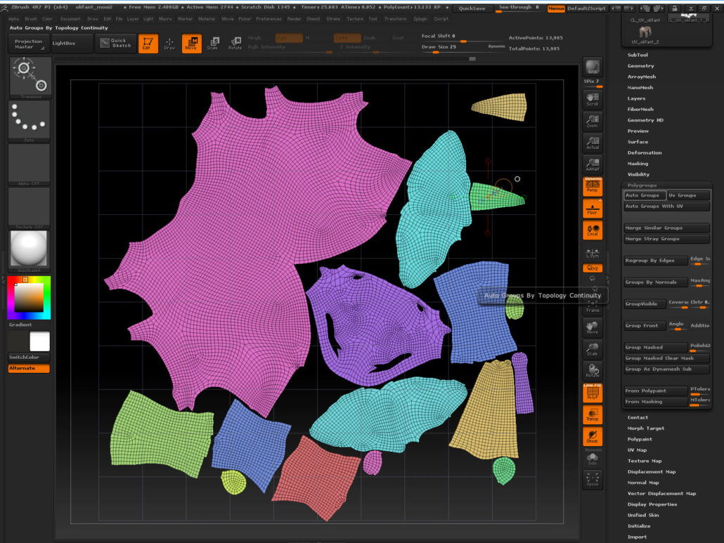 "Same UV map with ""auto polygroups"""