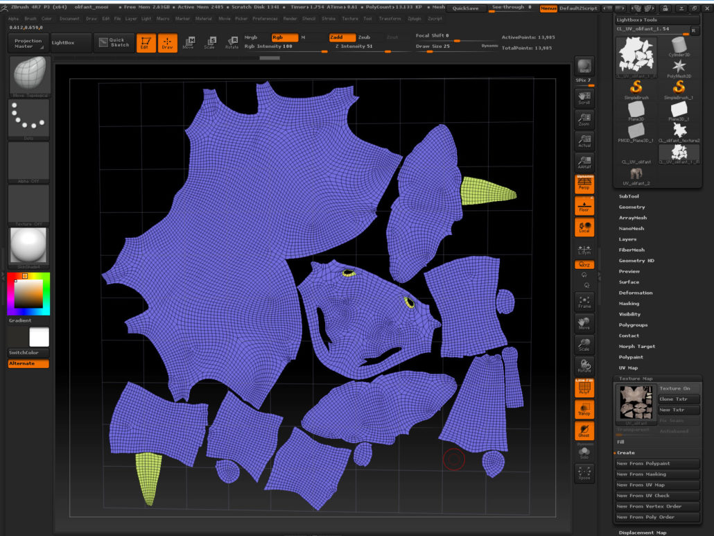 The UV map derived from existing seams