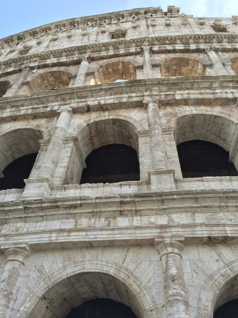 The roman Colosseum after the restoration, close up view (April 2016)