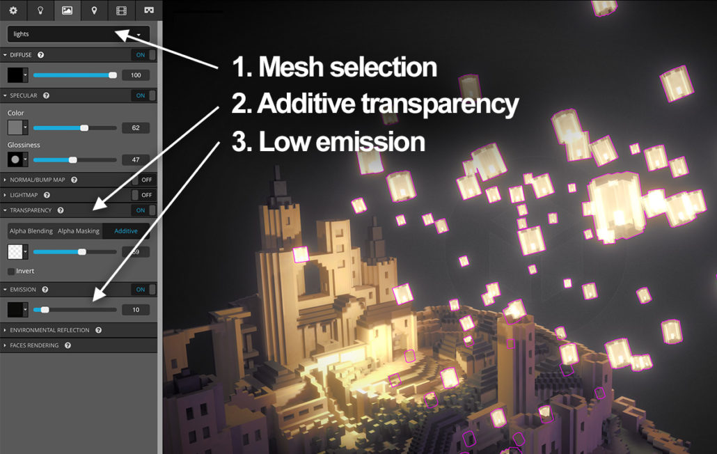 Emission and transparency in Sketchfab