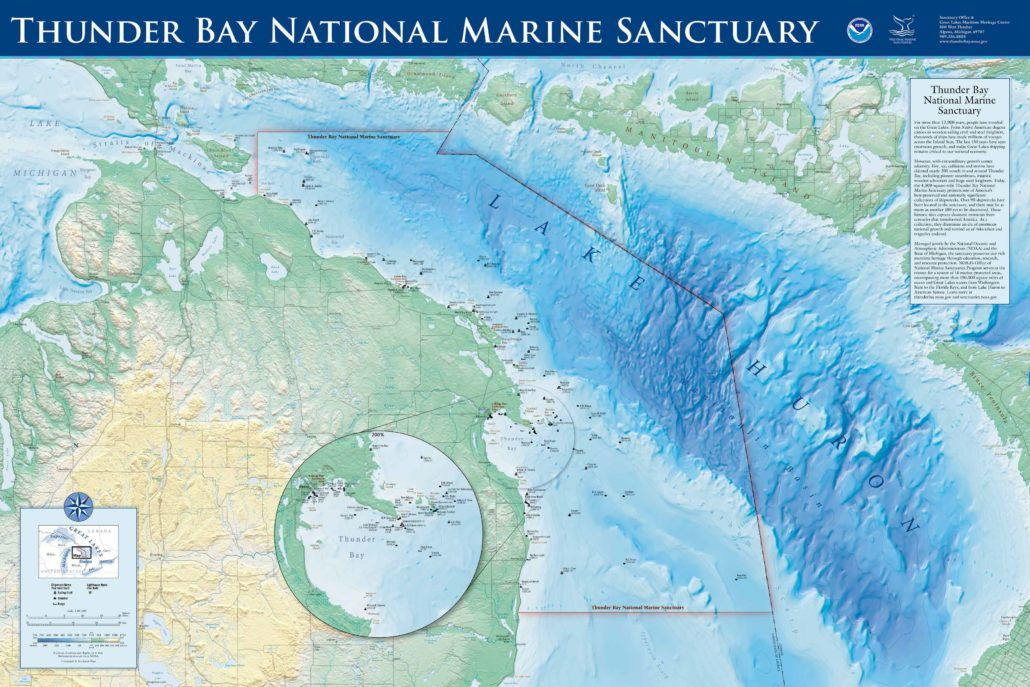 Above: Thunder Bay National Marine Sanctuary protects a significant collection of shipwrecks in Northern Lake Huron. Photo Credit: NOAA/TBNMS.