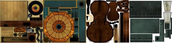 Diffuse maps used for texturing the old lamp, gramophone, lantern, and cello. As you can see, there's a lot of room for improvement!