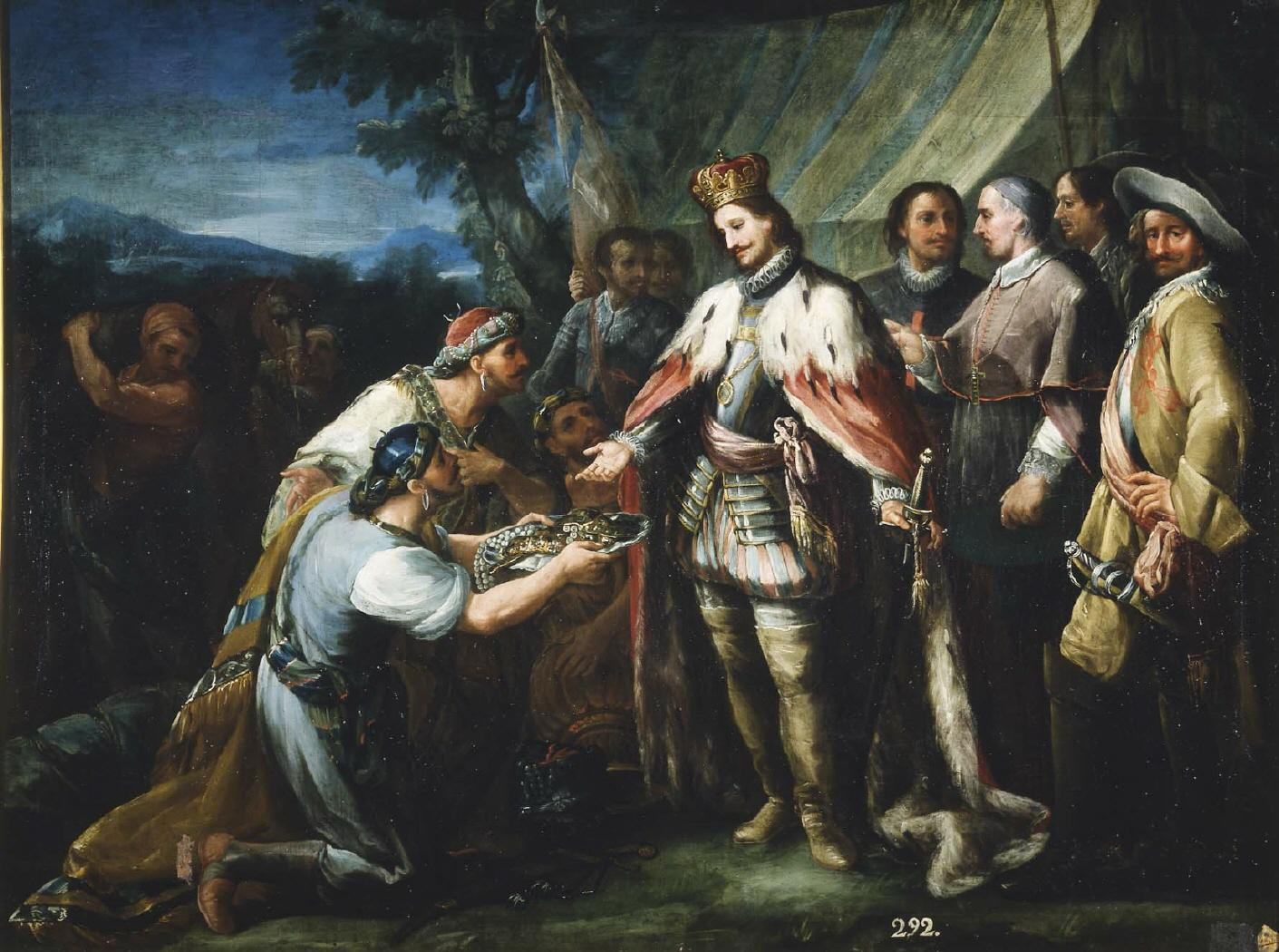 Fig. 1 Andrés Ginés de Aguirre San Fernando receiving the embassy of the king of Baeza 1760 inv. 226 - Real Academia de Bellas Artes de San Fernando
