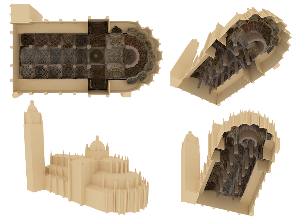 Fig. 5: Four different views of the schematic structure surrounding the photogrammetric model of the cathedral.