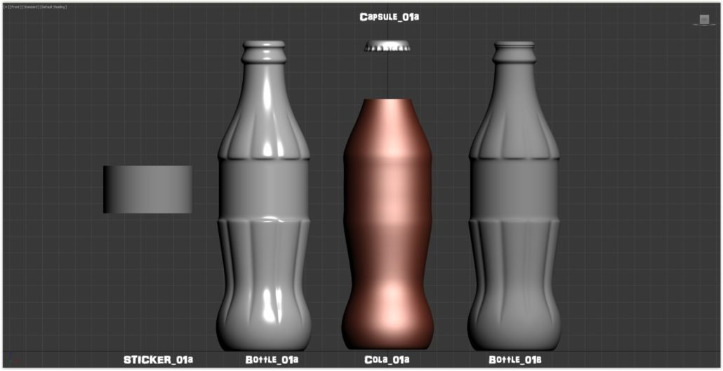 "Layers of mesh used for rendering : ""Sticker_01a"" for the Coca-Cola label ""Bottle_01a"" for the outer-layer of the bottle --- ""Bottle_01b"" for the inner-layer of the bottle ""Cola_01a"" for the Coca-Cola liquid --- ""Capsule_01a""... for the capsule!"
