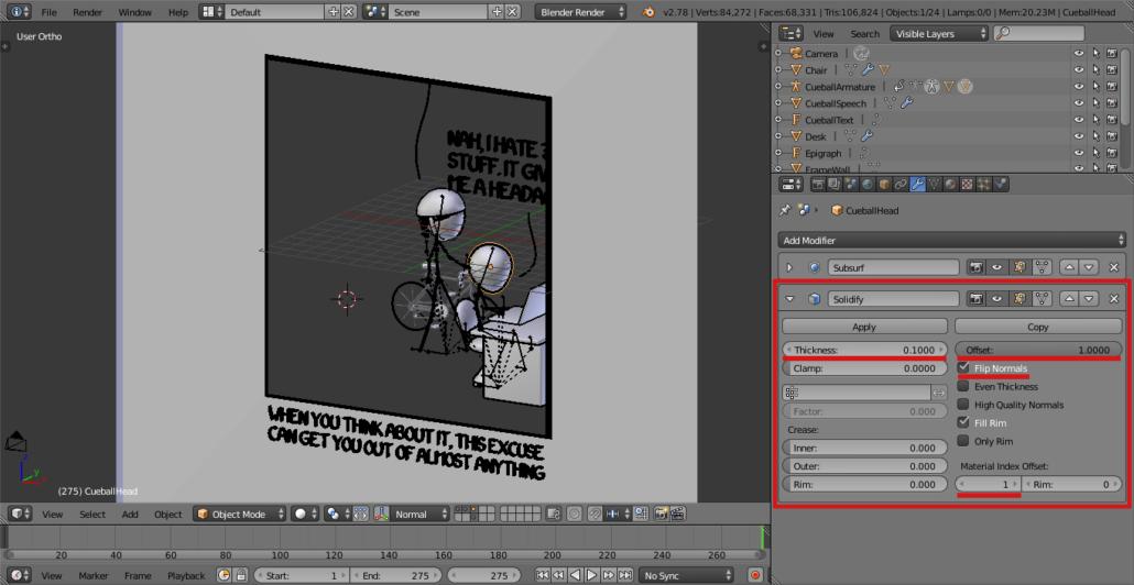 Solidify Modifier on Cueball's head.