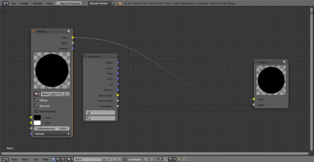 Note: for rendering in Blender Internal, it's needed this node setup on the materials.