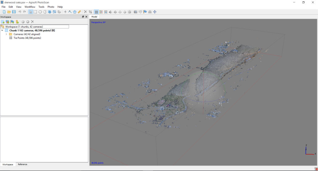 "The ""sparse"" point cloud in Photoscan after aligning images"