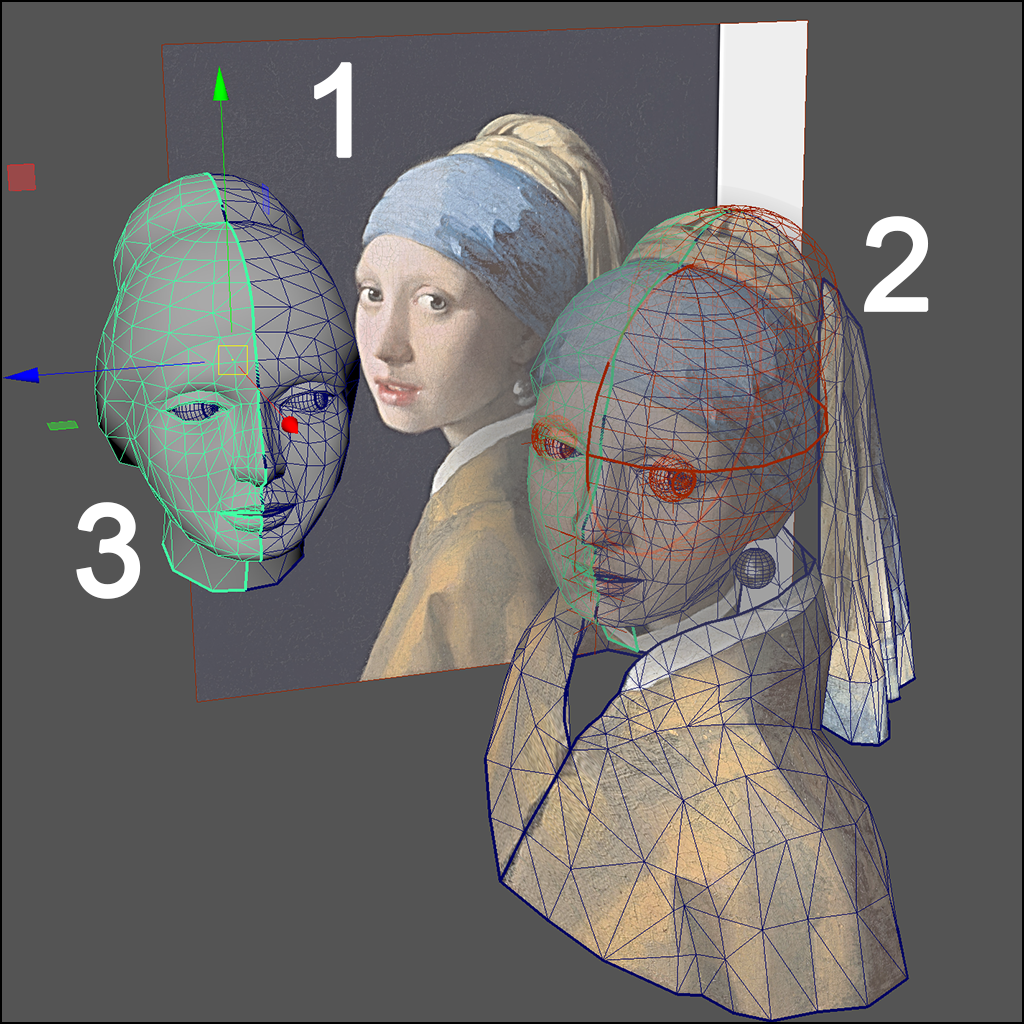 """After Somewhat Satisfied With The Model, I Named The Mesh """"source"""", And  Planar Projected The Source Art On It Then I Duplicated A Copy Of The  Mesh,"""