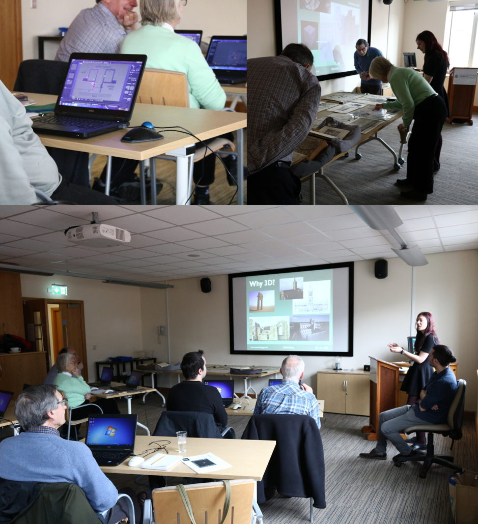 Views of the 'Archives in 3D' workshop led by Hannah Rice. Participants are using laptops to view building floor plans, looking at a table covered with physical floor plans images and listening to Hannah present her work making these things into digital 3D models.