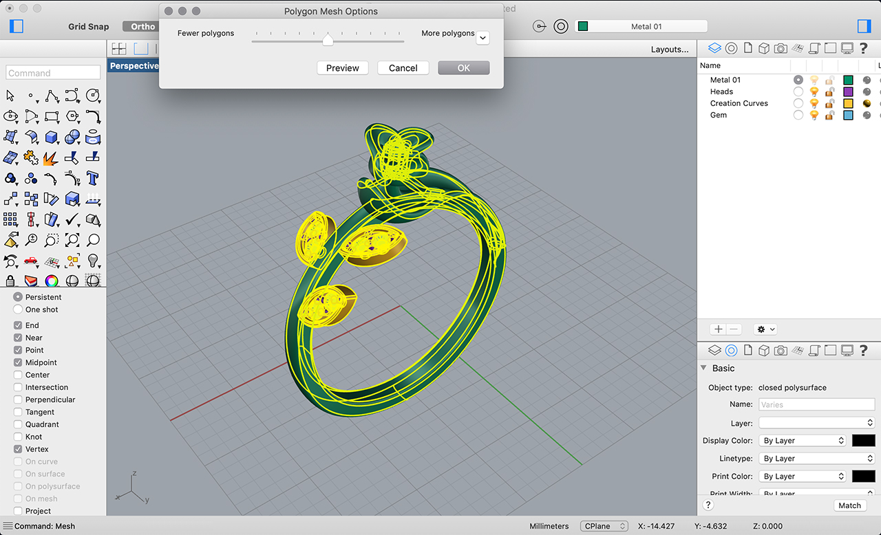 rhino 3d jewelry sketchfab convert to mesh