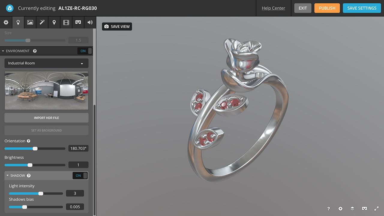 rhino 3d jewelry sketchfab editor lighting