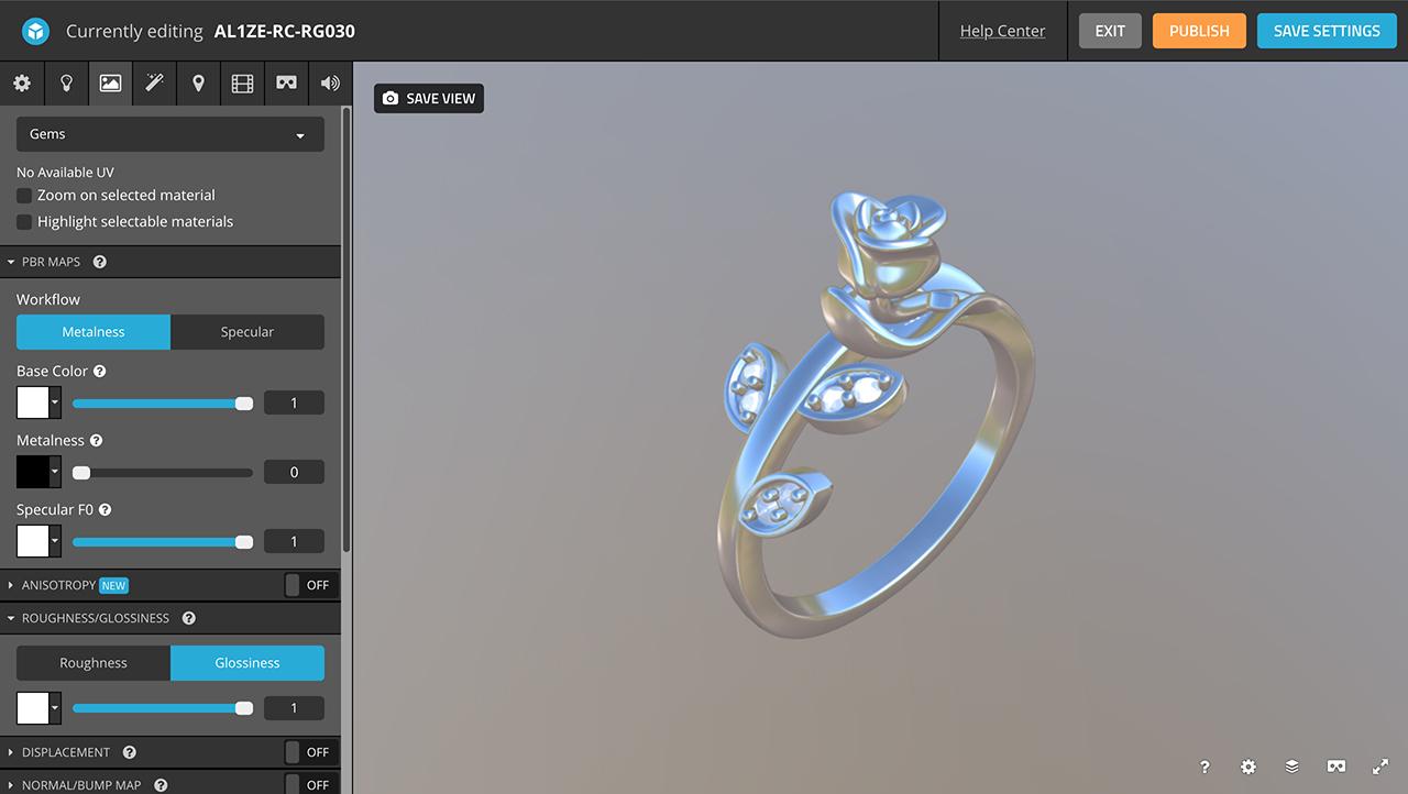 rhino 3d jewelry sketchfab editor materials gems