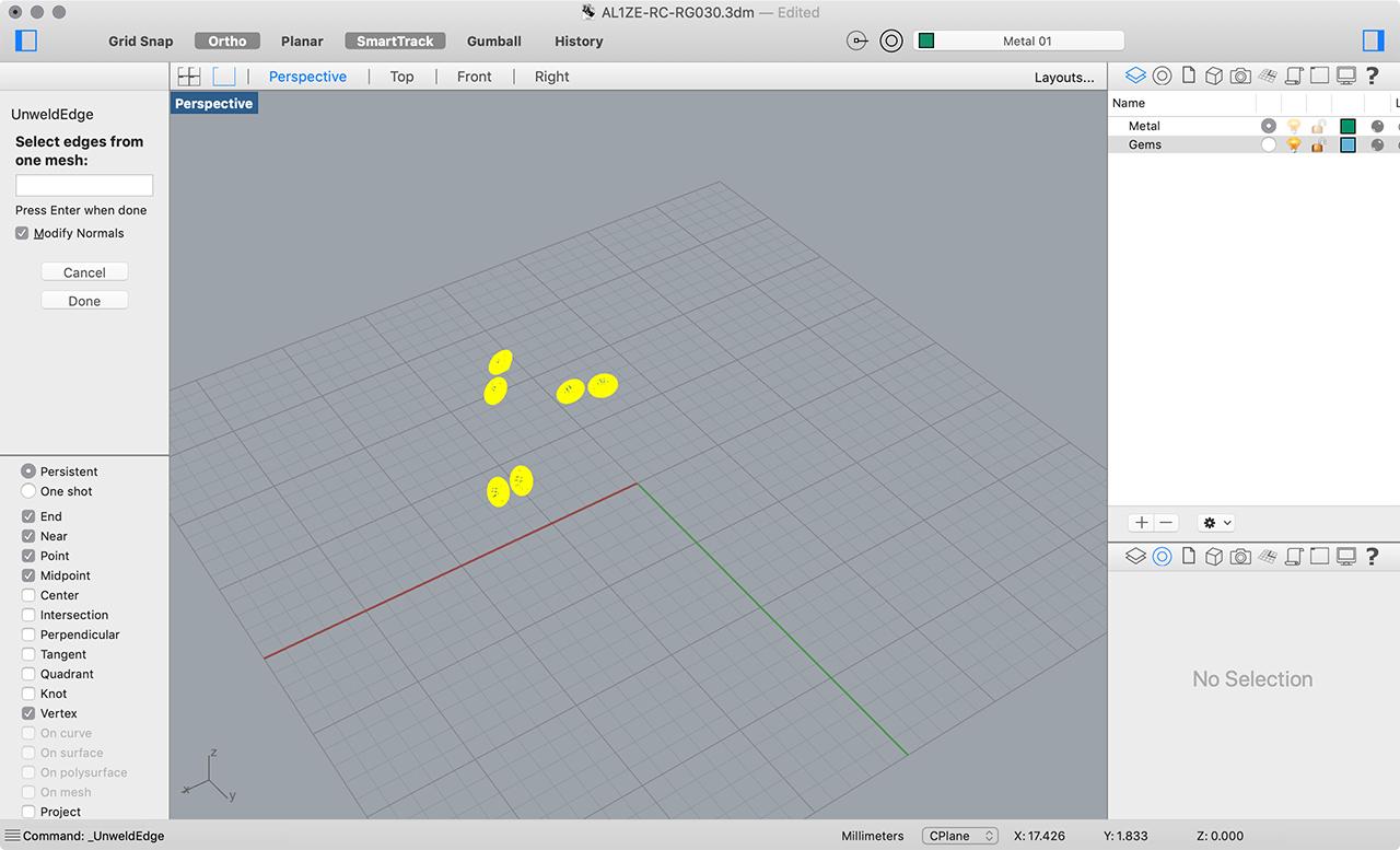 rhino 3d jewelry sketchfab unweld vertices gems