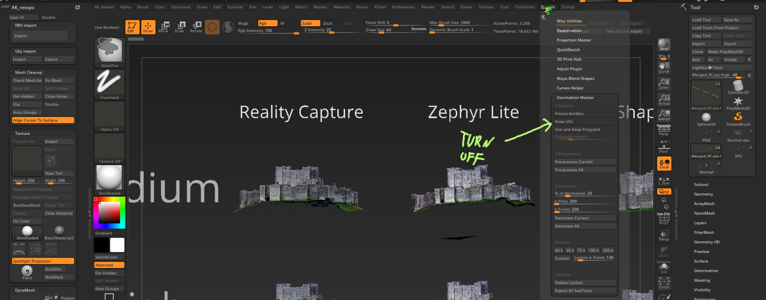 photogrammetry software ZBrush