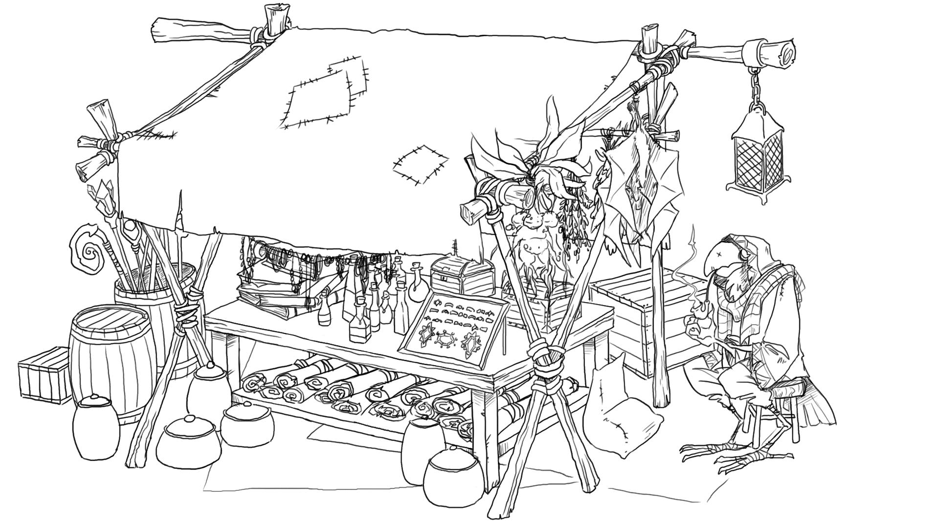 wizard market stall sketch