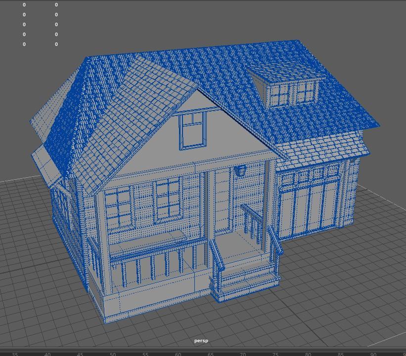 3d house scene mesh