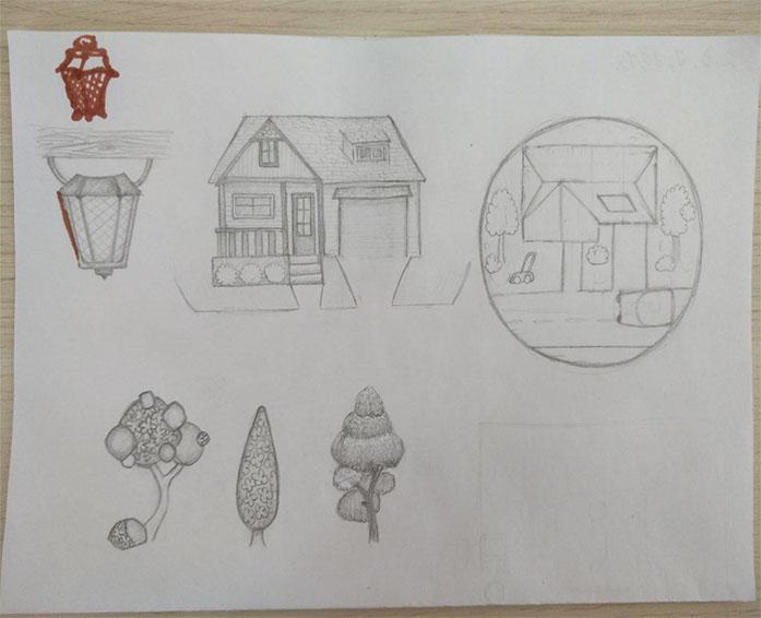 3D house scene concept