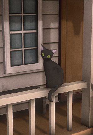 3D house scene cat