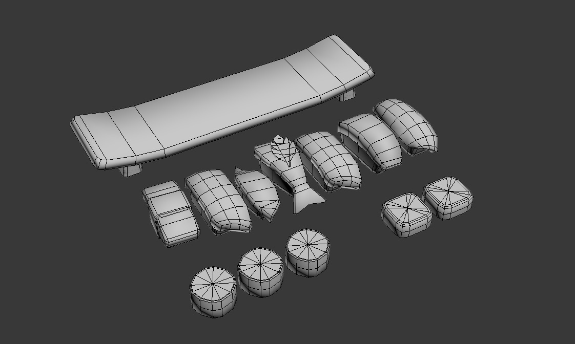 3d sushi wireframe