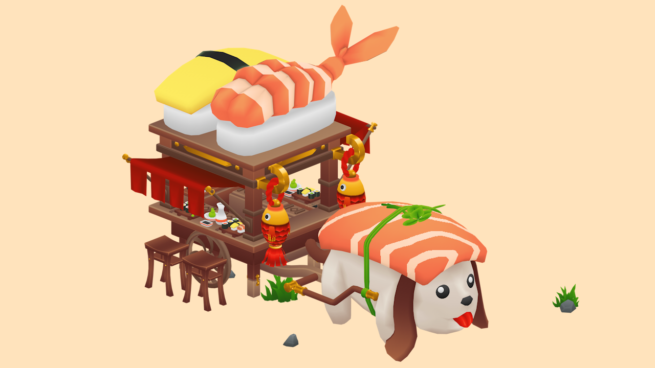 gradient sushi cart textured