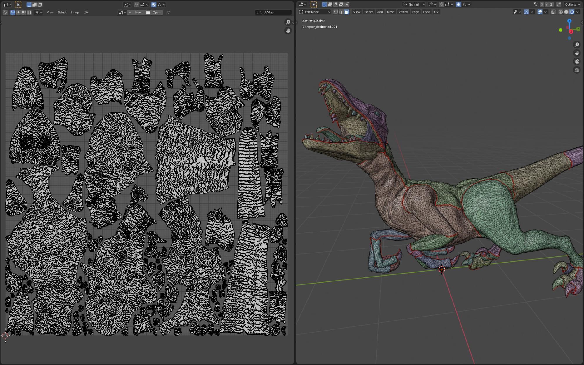 velociraptor UV unwrap