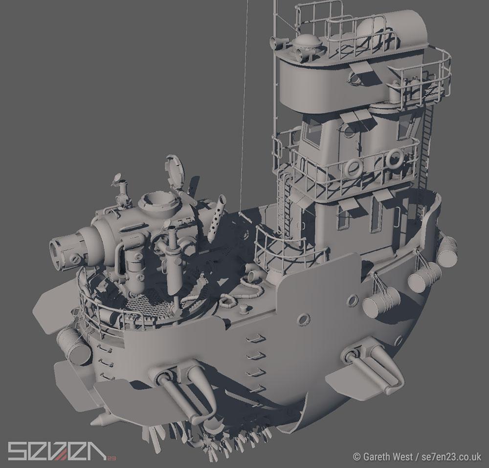 Low Poly Dieselpunk Airboat/Gunship mesh