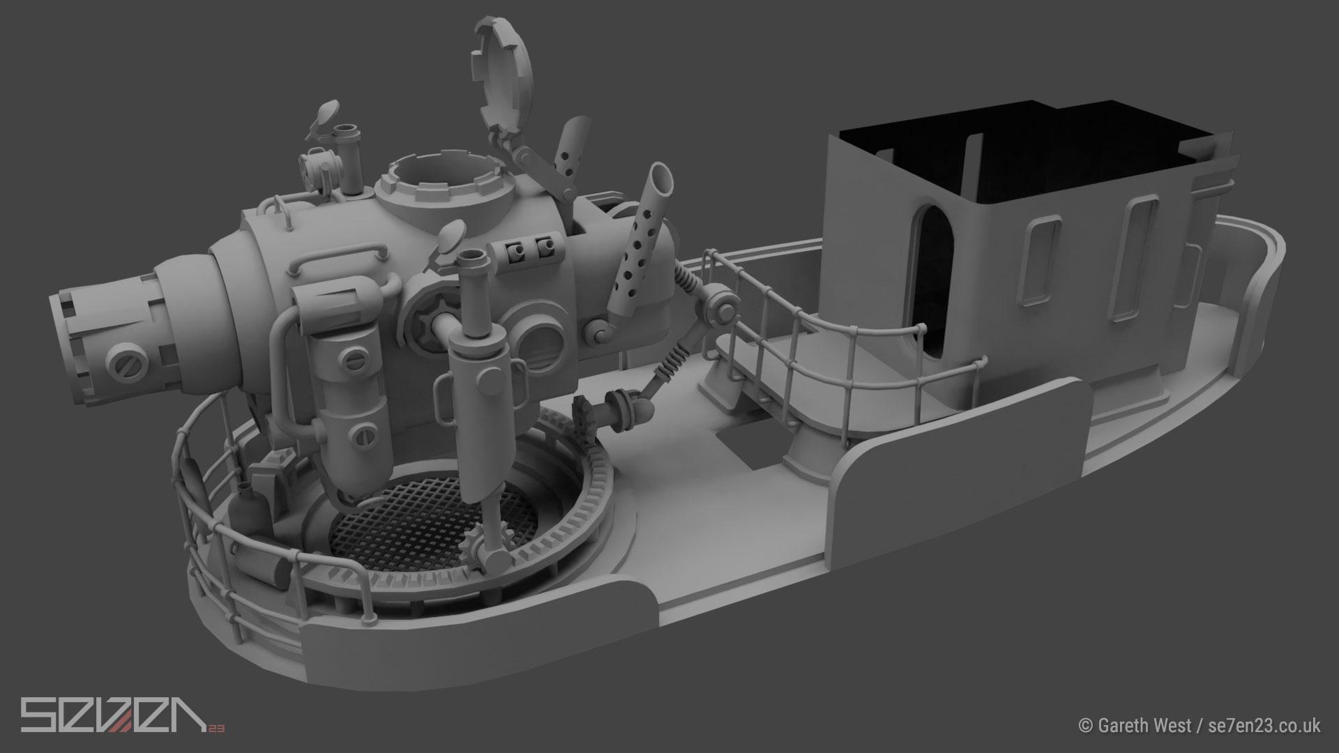 Low Poly Dieselpunk Airboat/Gunship deck
