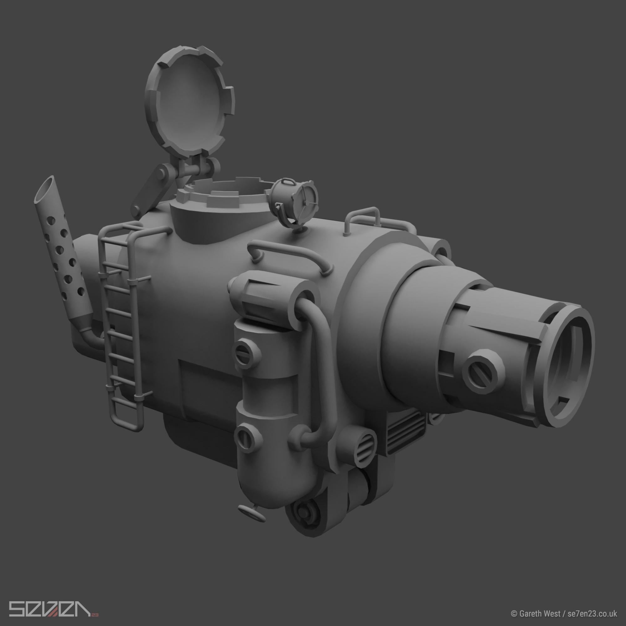 Low Poly Dieselpunk Airboat/Gunship vents