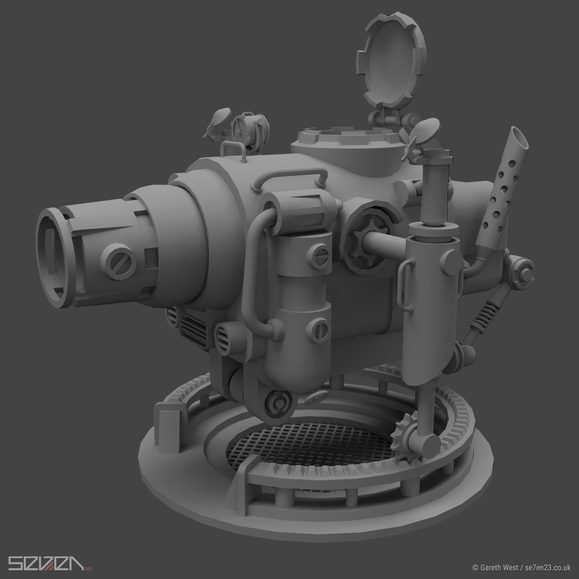 Low Poly Dieselpunk Airboat/Gunship gun
