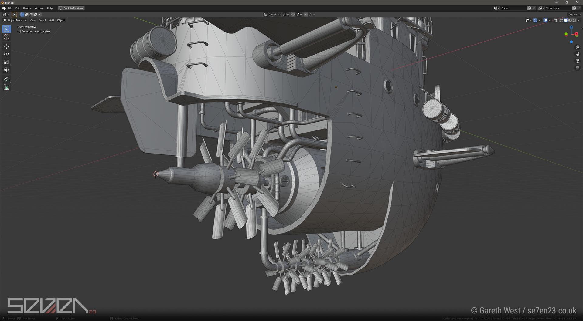 Low Poly Dieselpunk Airboat/Gunship propellers