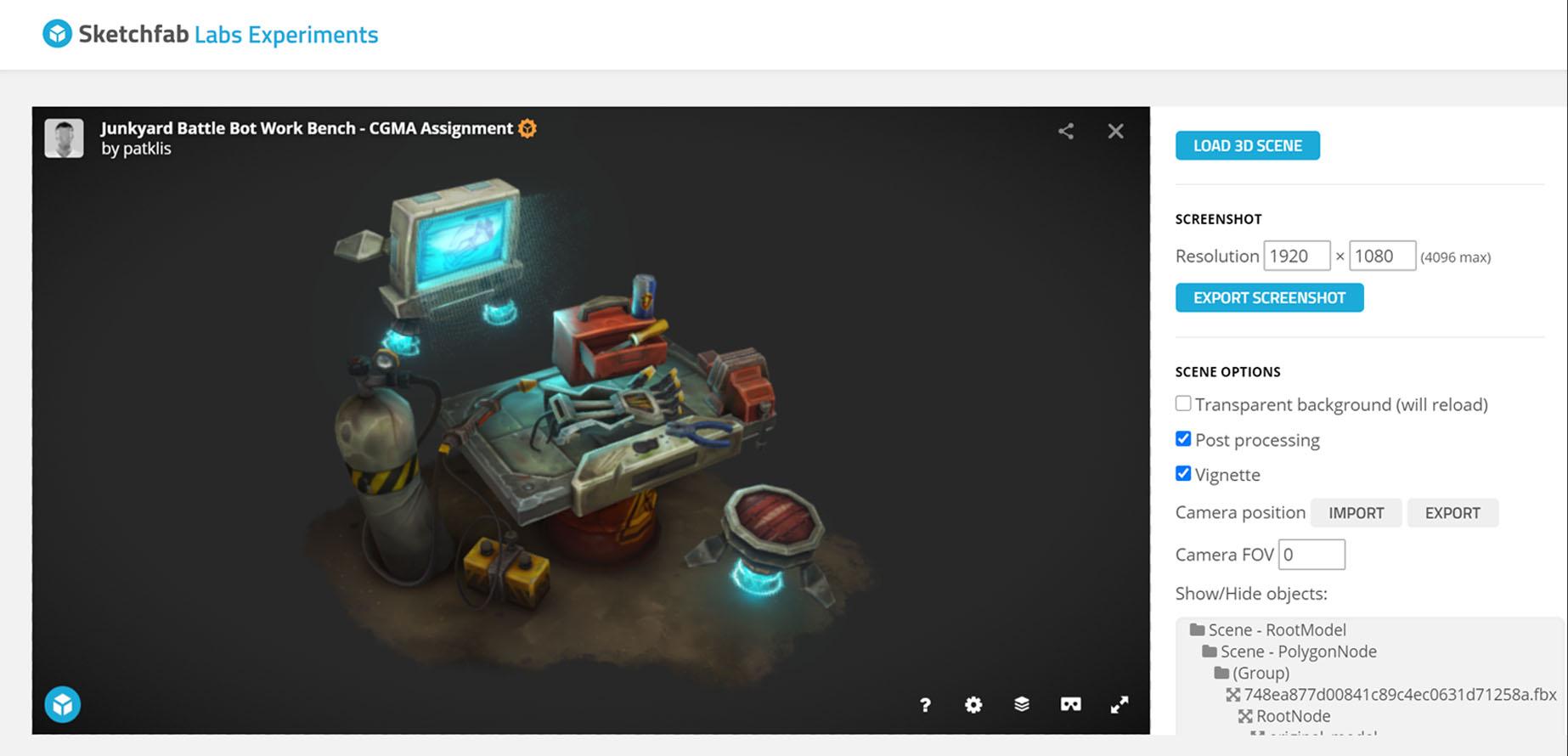 sketchfab screenshot generator