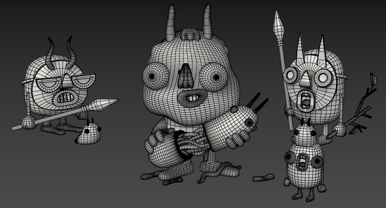 astro's monsters blender wireframe