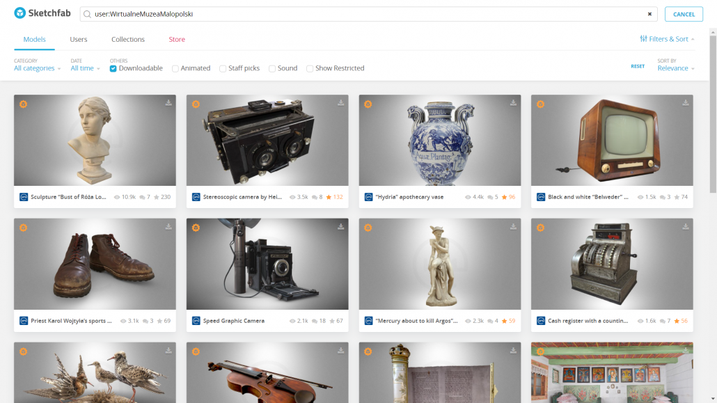 Image of Sketcfhab search results showing 3D models from the Wirtualne Muzea Malopolski collections