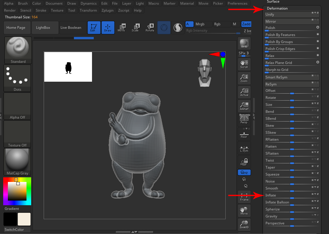 ZBrush deformation inflate