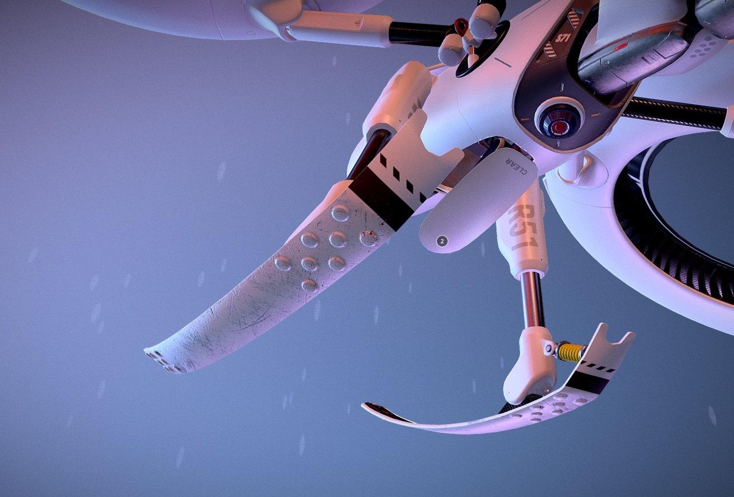 sci-fi drone texture details
