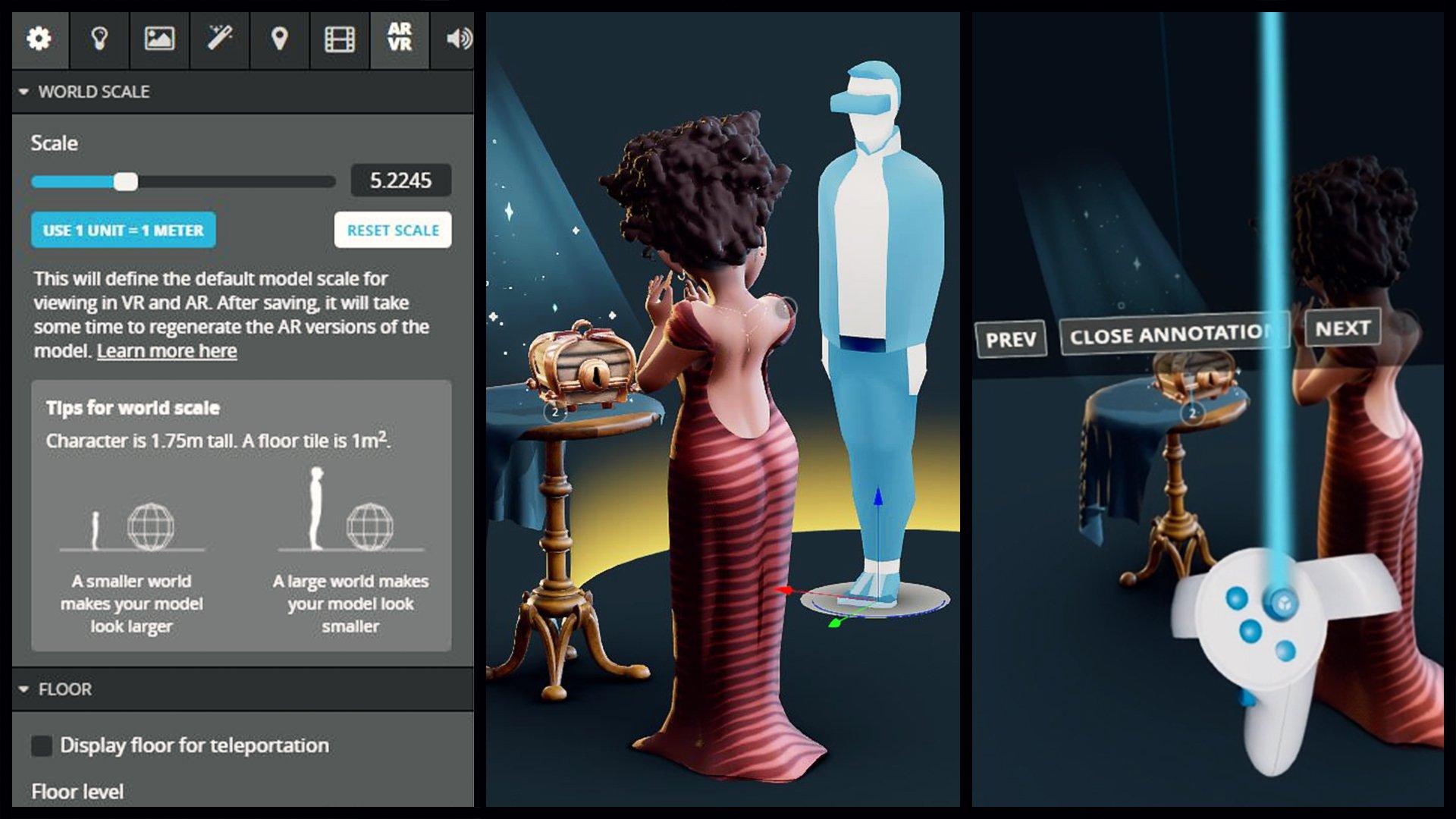 sketchfab VR settings