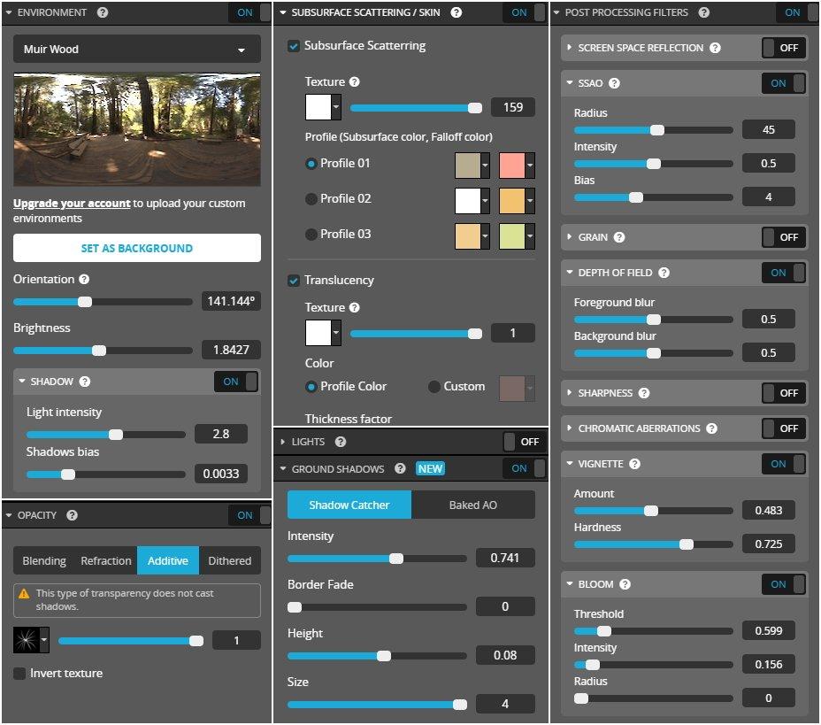 sketchfab 3d editor settings image