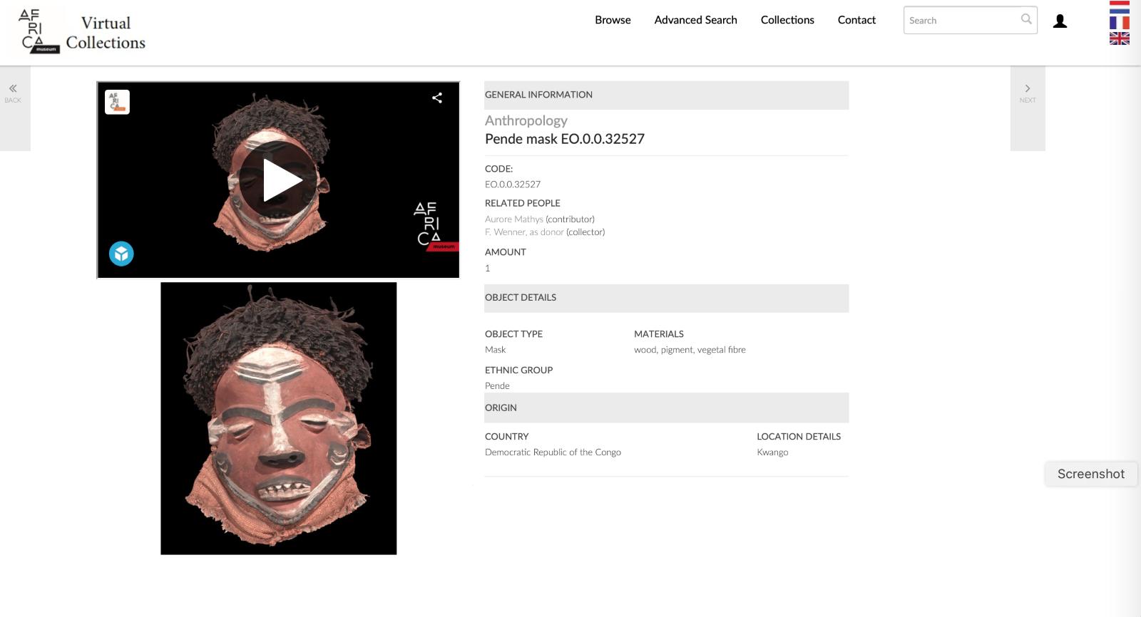 africamuseum virtual collections platform screenshot