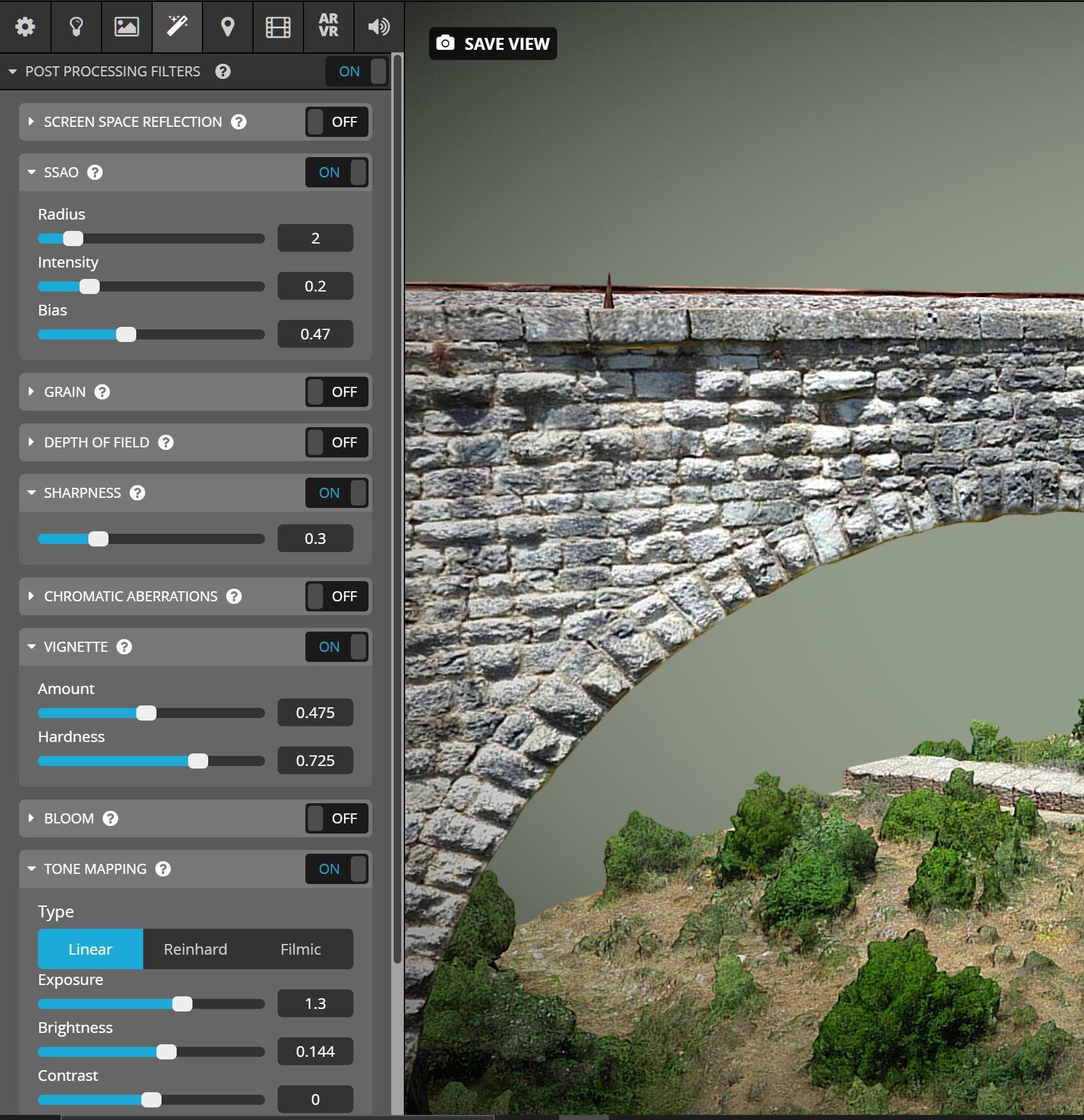 sketchfab 3d editor settings screenshot