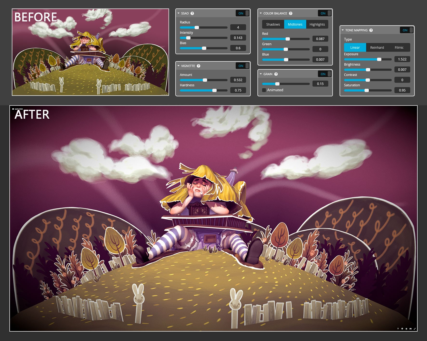 sketchfab 3d editor post-processing